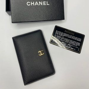 AUTHENTIC CHANEL CARD HOLDER WALLET BLACK LEATHER